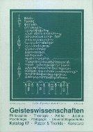 Katalog 47, Geisteswissenschaften